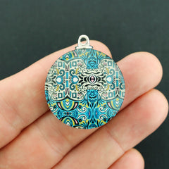 Round Ornate Boho Chic Antique Silver Tone Charm with Glass 2 Sided - Z797