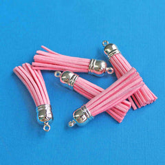 Faux Suede Tassels - Pink and Silver Tone - 4 Pieces - Z344