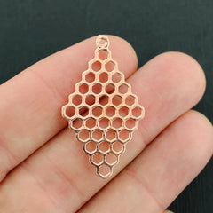 4 Honeycomb Rose Gold Tone Charms 2 Sided - GC924