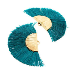 Fan Tassels - Gold Tone and Teal Blue - 2 Pieces - Z1013