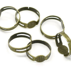 Bronze Tone Adjustable Ring Bases - 17.9mm with 8mm glue pad - 50 Pieces - FD044