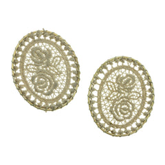 4 Linen Woven Lace Oval Gold Tone Pendants - TSP102-G