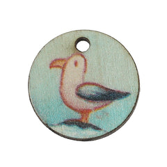 4 Pelican Wooden Charms - Z086