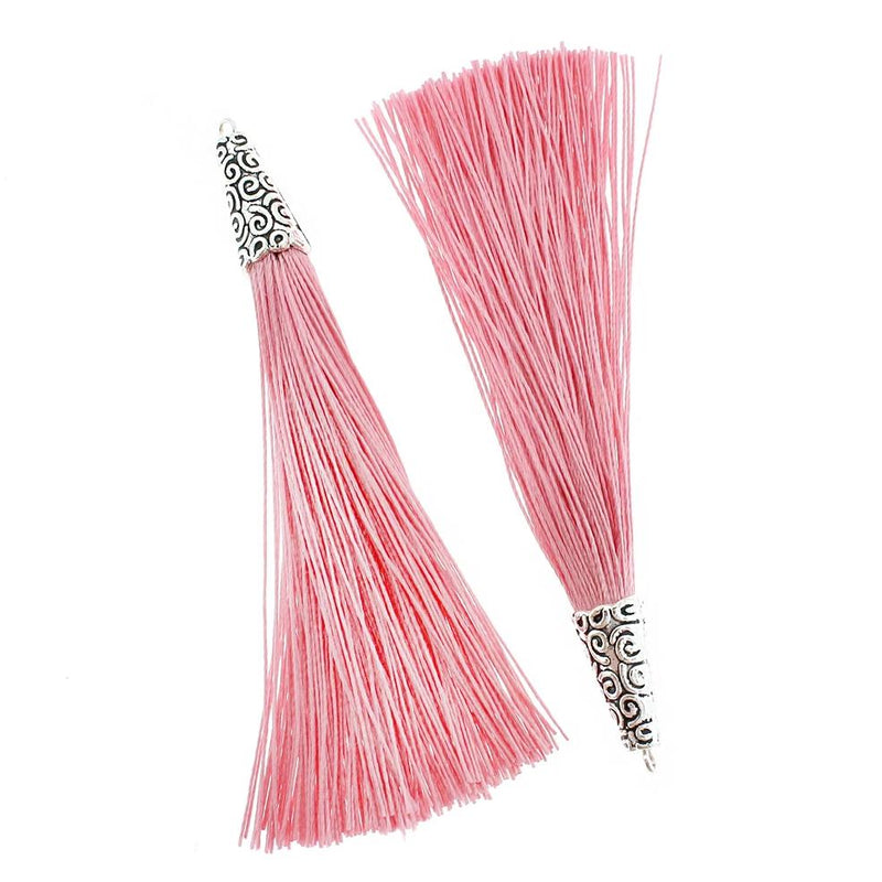 Polyester Tassel with Cap - Rose Pink and Silver Tone - 4 Pieces - TSP015