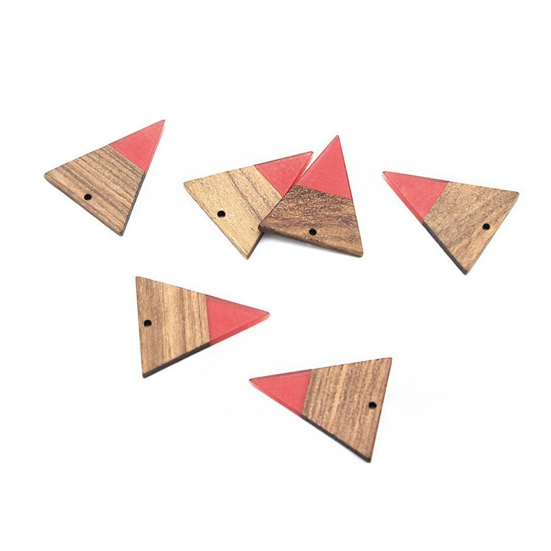 2 Triangle Natural Wood and Salmon Resin Charms 37mm - WP026