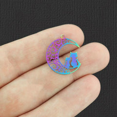 5 Cat Crescent Moon Rainbow Electroplated Stainless Steel Charms 2 Sided - SSP237