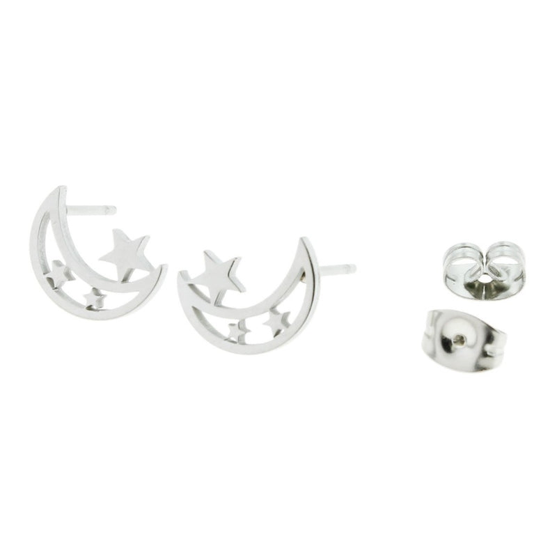 Stainless Steel Earrings - Crescent Moon Studs - 11mm x 8mm - 2 Pieces 1 Pair - ER048