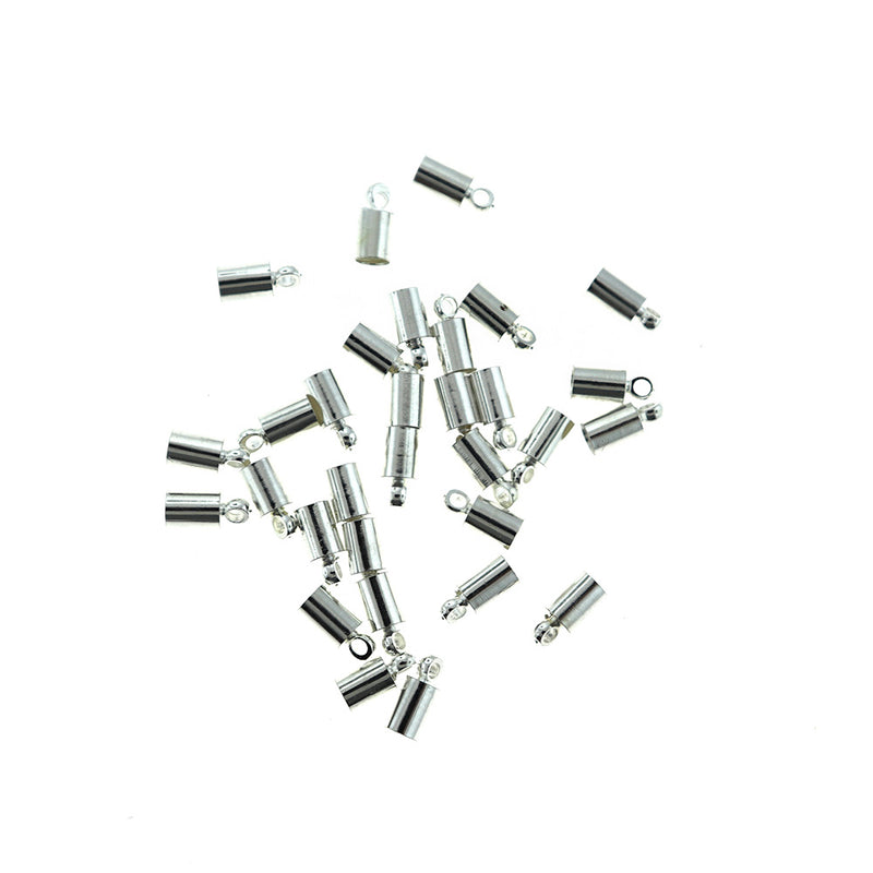 Silver Tone Cord Ends - 9mm x 4mm - 75 Pieces - FD027