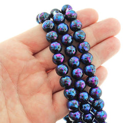 Round Glass Beads 10mm - Glitter Purple and Blue Drip Black - 1 Strand 82 Beads - BD2585