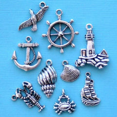 Atlantic Seashore Charm Collection Antique Silver Tone 9 Different Charms - COL214