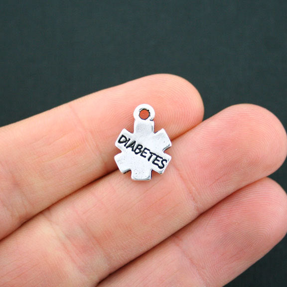SC2026 10 Puzzle Piece Charms Antique Silver Tone 2 Sided
