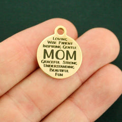 Mother Gold Stainless Steel Charm - Mom Word Collage - Quantity Options - BFS1120GOLD