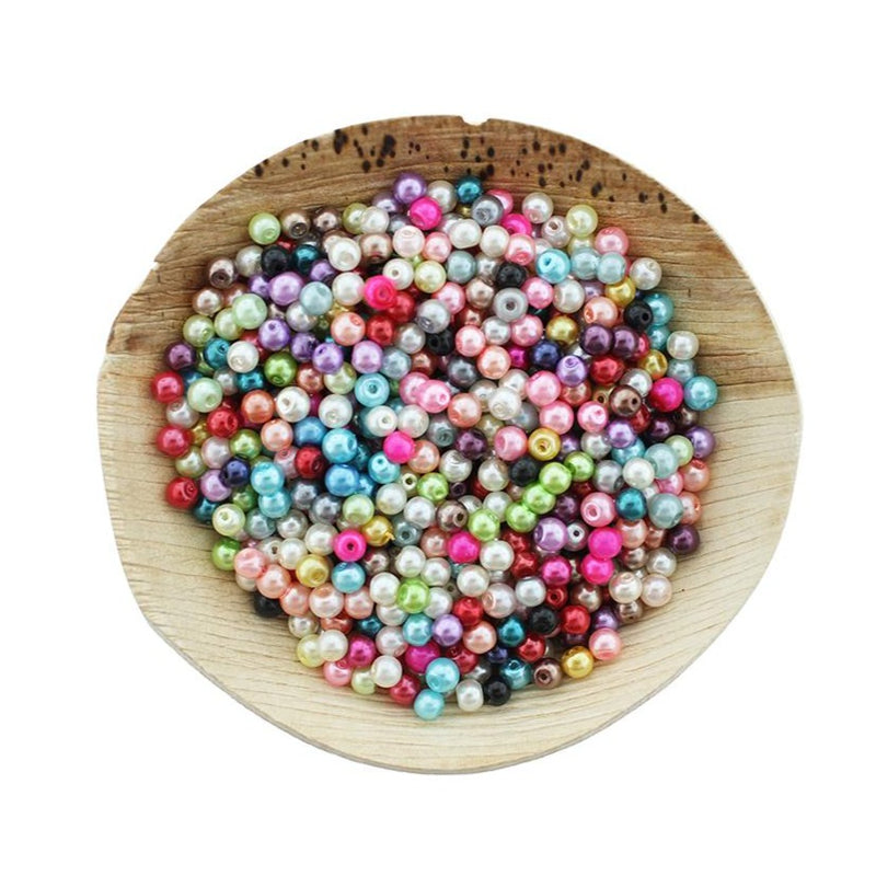Round Glass Beads 4mm - Assorted Pearl Rainbow - 400 Beads - BD2436