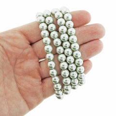 Round Glass Beads 8mm - Pearly Silver - 1 Strand 105 Beads - BD2317