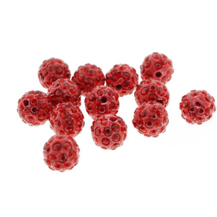 Round Polymer Clay Rhinestone Beads 10mm - Ruby Red - 25 Beads - BD307