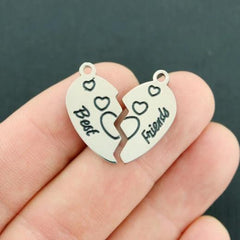 Best Friends Silver Tone Stainless Steel Charms 2 Piece Set - MT687