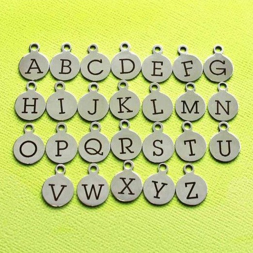 4 Stainless Steel Letter Charms - Choose Your Initial - Uppercase Alphabet - ALPHA1300BFS-IND