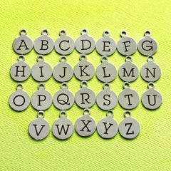 Stainless Steel Letter Charms - Choose Your Initial & Quantity - Uppercase Alphabet - 13mm With Loop - ALPHA1300BFS-IND