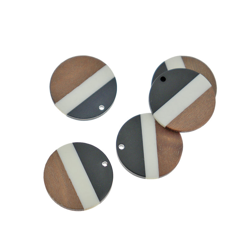 Round Natural Wood and Black Resin Charm - Z1392