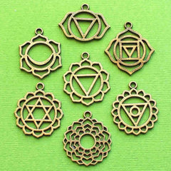 Chakra Charm Collection Bronze Tone 7 Charms - COL351