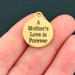 Mother Gold Stainless Steel Charm - A Mother's Love is Forever - Quantity Options - BFS010GOLD