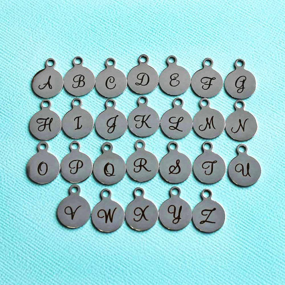 4 Stainless Steel Letter Charms - Choose Your Initial - Uppercase Cursive Script Alphabet - ALPHA1500BFS-IND