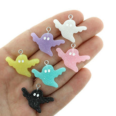 4 Assorted Ghost Glitter Resin Charms - K073