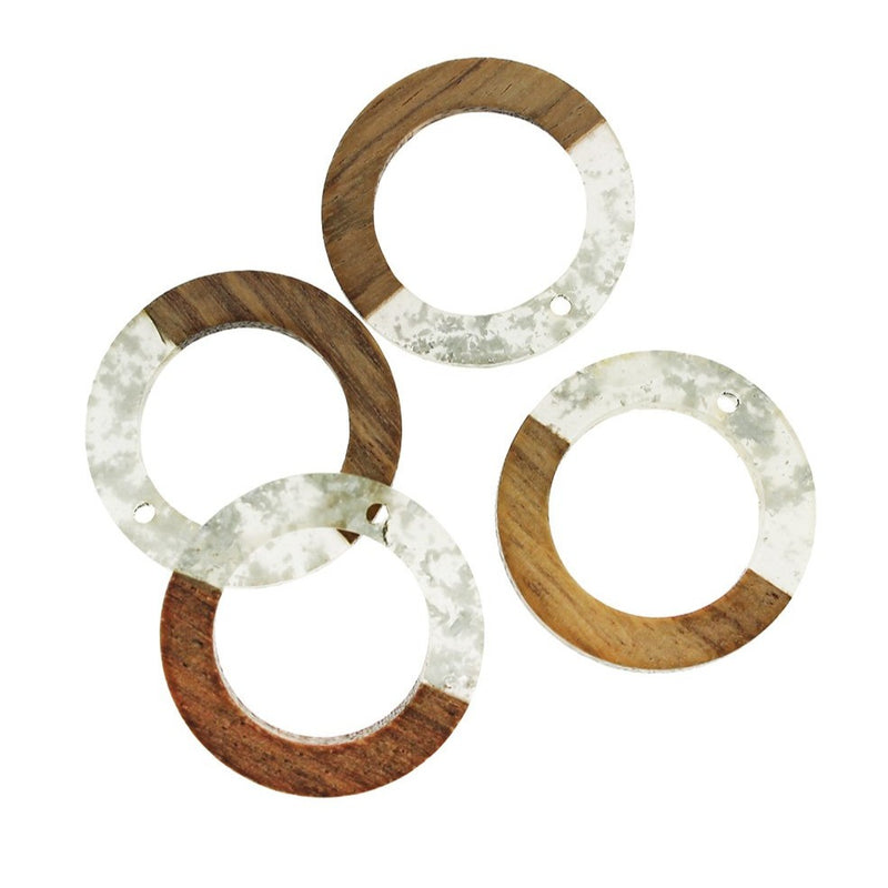 2 Round Natural Wood and Resin Charms - Z1033