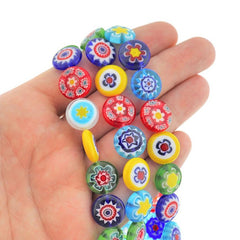 Flat Round Glass Beads 14mm x 5mm - Assorted Floral Millefiori - 10 Beads - BD2363