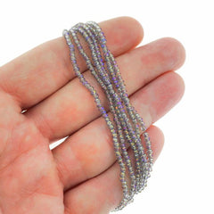 Faceted Glass Beads 2.5mm x 1.5mm - Electroplated Purple - 1 Strand 197 Beads - BD1566