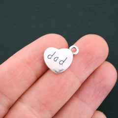 6 Dad Antique Silver Tone Charms 2 Sided - SC4691