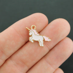 6 Unicorn Gold Tone Enamel Charms - E024