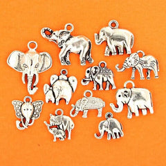 Elephant Charm Collection Antique Silver Tone 11 Different Charms - COL127