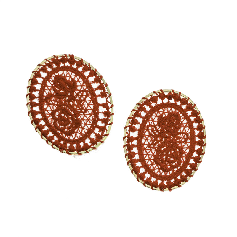 4 Red Woven Lace Oval Gold Tone Pendants - TSP102-D