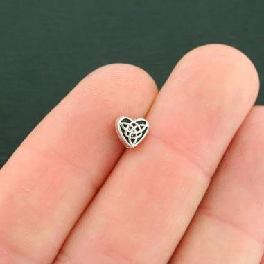 Celtic Heart Spacer Metal Beads  6.5mm x 6.1mm  - Silver Tone - 50 Beads - SC7572
