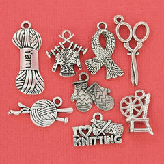 Knitting Charm Collection Antique Silver Tone 8 Different Charms - COL038