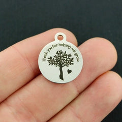 Teacher Stainless Steel Charms - Thank you for helping me grow - Exclusive Line - Quantity Options - BFS4472