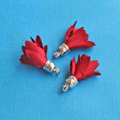 Polyester Tassels with Cap - Red and Silver Tone - 5 Pieces - Z355