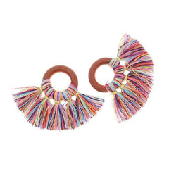 Fan Tassels - Natural Wood and Multicolor - 2 Pieces - TSP035
