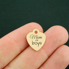 Family Gold Stainless Steel Charm - Mom of boys - Smaller Size - Exclusive Line - Quantity Options - BFS2774GOLD