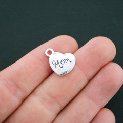 BULK 30 Mom Antique Silver Tone Charms 2 Sided - SC4692