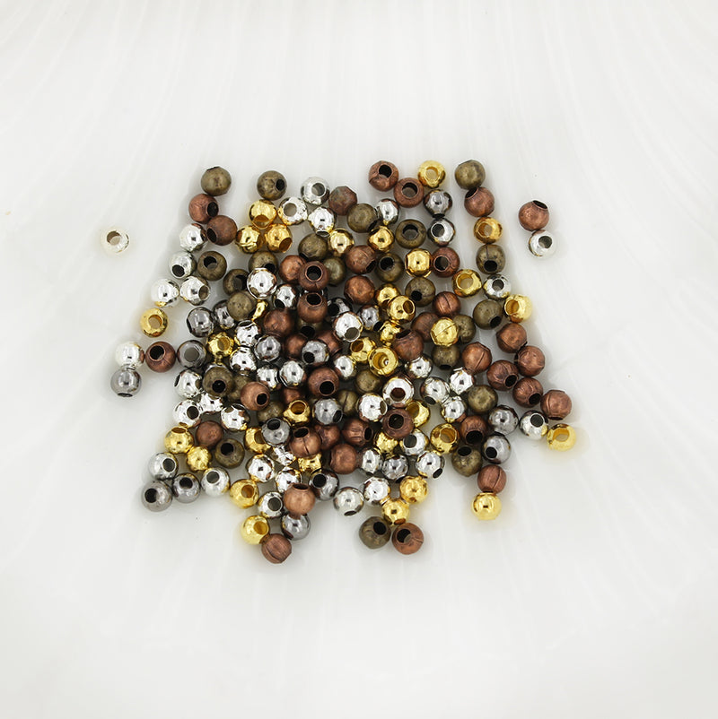 Spacer Metal Beads 3mm x 3.2mm - Assorted Silver, Bronze, Gold and Copper Tone - 500 Beads - FD372