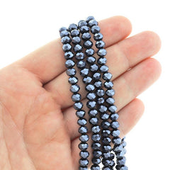 Faceted Rondelle Glass Beads 6mm x 4mm - Electroplated Navy Blue - 1 Strand 98 Beads - BD2563