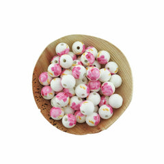Round Ceramic Beads 12mm - Pink and White Floral - 10 Beads - BD233
