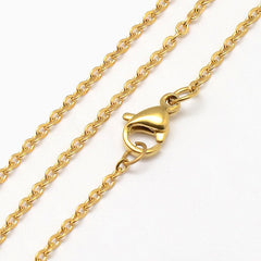 Gold Stainless Steel Cable Chain Necklace 18
