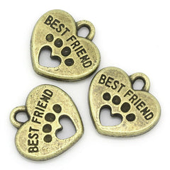 6 Best Friend Dog Paw Antique Bronze Tone Charms - BC782