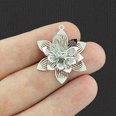 2 Filigree Flower Silver Tone Brass Charms 3D With Inset Rhinestone - BR151