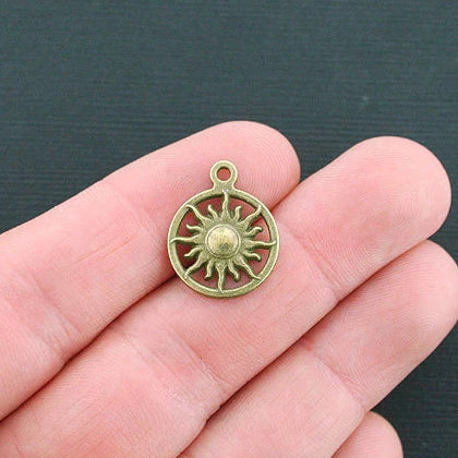 8 Sun Antique Bronze Tone Charms - BC1292