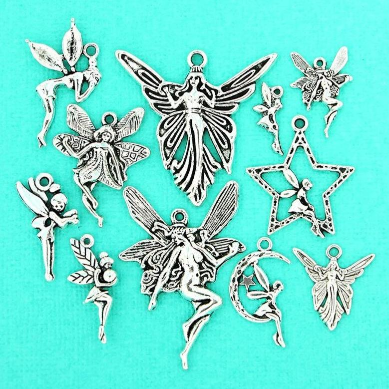 Fairy Charm Collection Antique Silver Tone 11 Different Charms - COL107