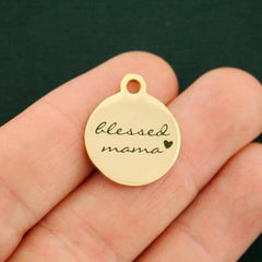 Family Gold Stainless Steel Charm - Blessed Mama - Exclusive Line - Quantity Options - BFS2736GOLD